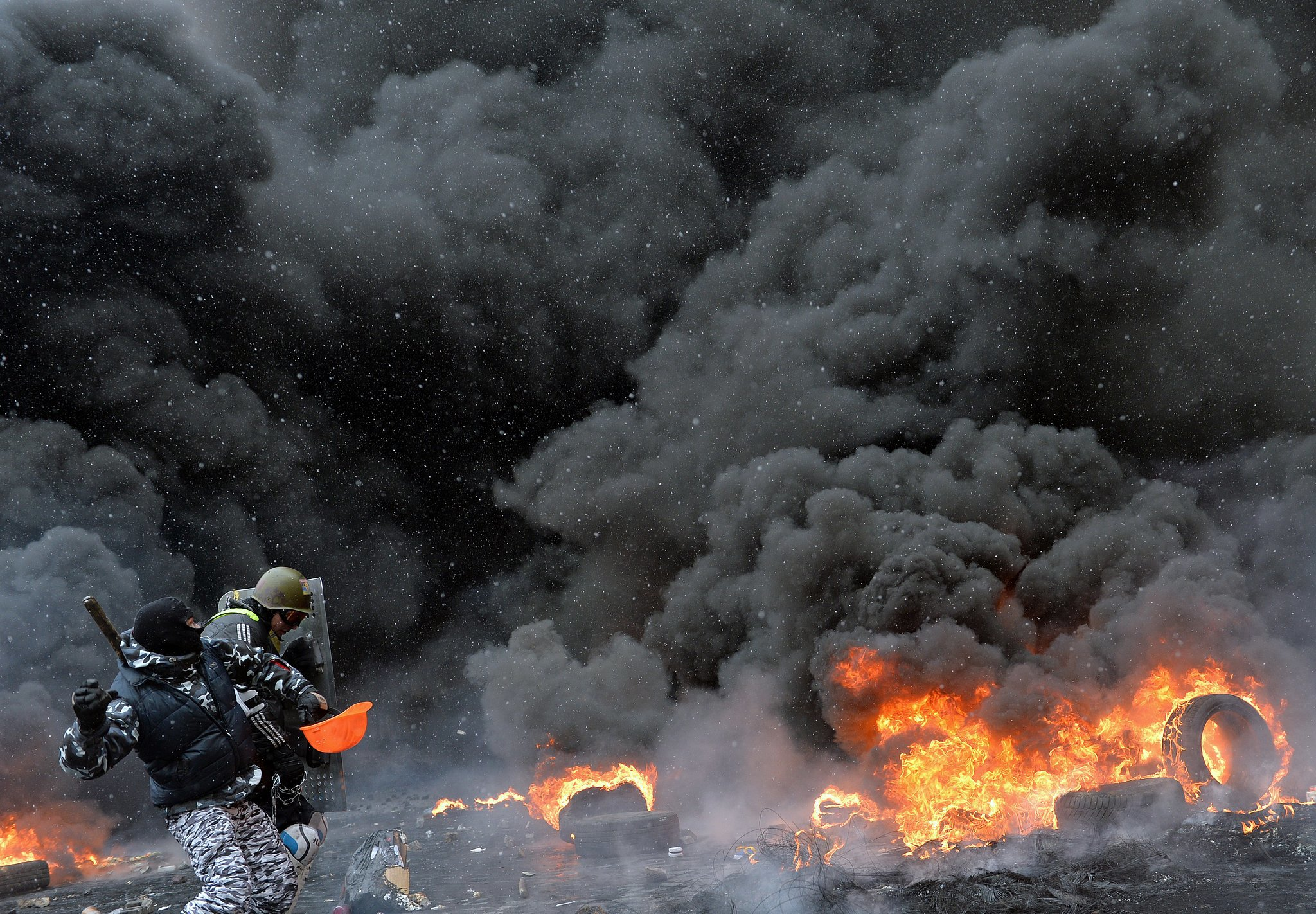 After months of growing antigovernment unrest, clashes in Kiev grew increasingly violent in January, as this fiery photo from the Ukrainian capital shows. The protesters were calling for the removal of President Viktor Yanukovych, who had been in office since 2010. This past November, he pulled away from a partnership with the European Union, which implied that he'd rather align with Russia, and the people weren't too happy about it.
