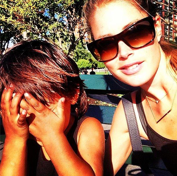 Doutzen Kroes's son, Phyllon, got camera-shy. Source: Instagram user doutzenkroes