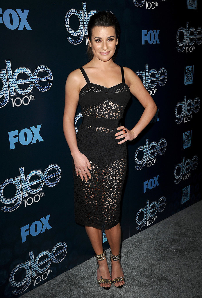 Lea Michele showed off her body in a sheer lace dress.