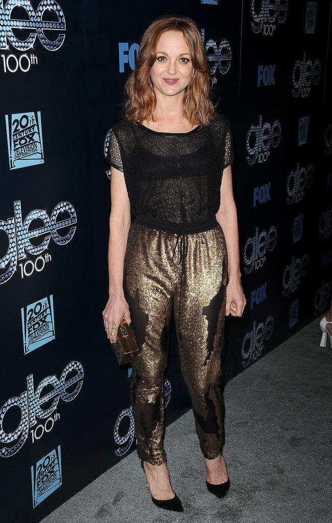 Jayma Mays rocked gold pants.