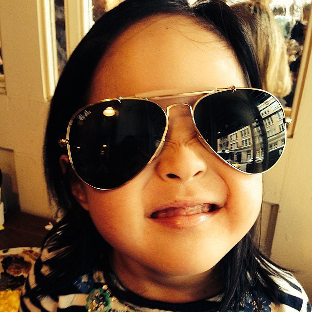 Naleigh Kelley was the epitome of cool in her dad's Ray-Bans. Source: