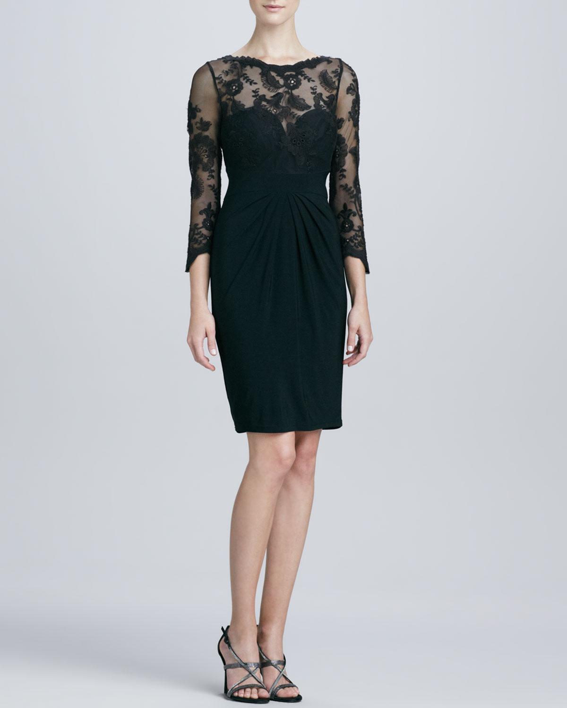 ML Monique Lhuillier sweetheart-neckline black lace-sleeve dress ($139, originally $398)