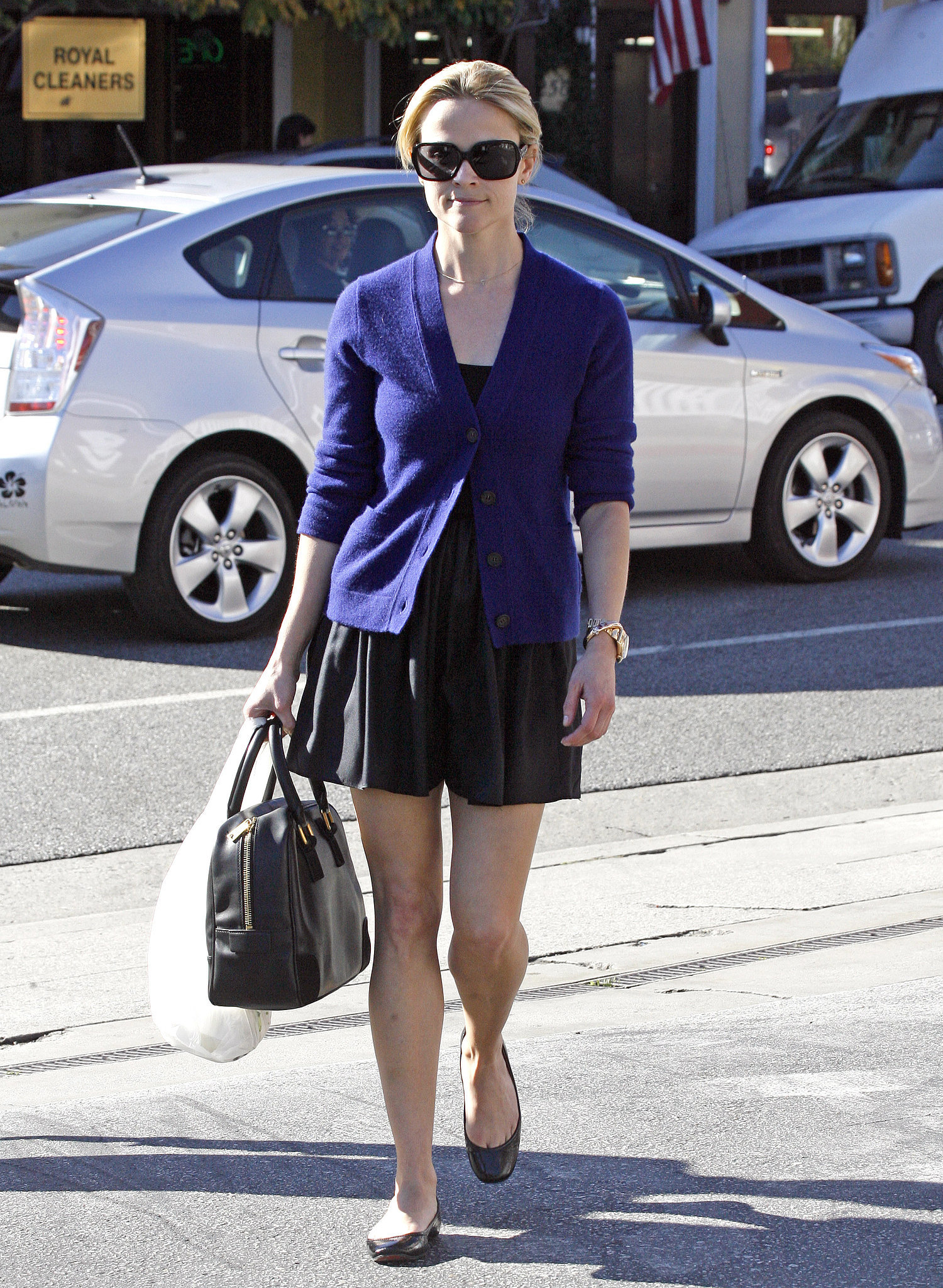 Reese Witherspoon in Black Dress and Navy Blazer