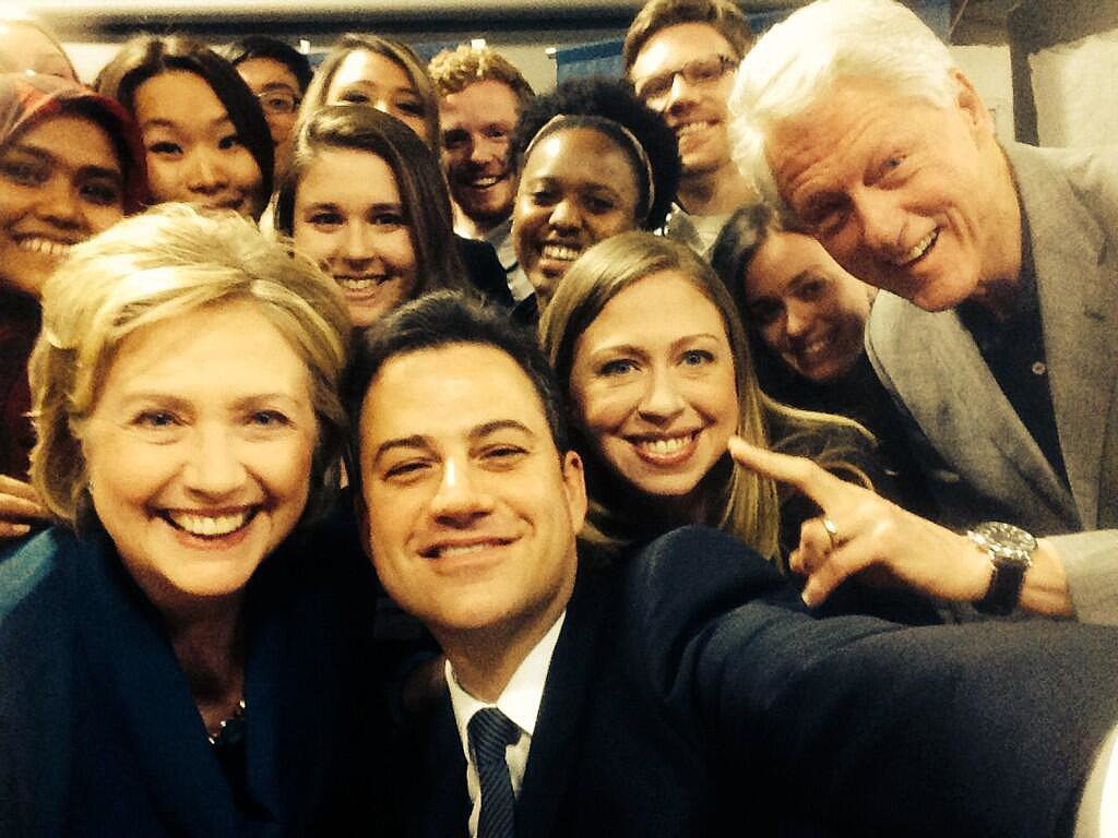 Inspired by Ellen DeGeneres's Oscars selfie, Jimmy Kimmel got the Clintons to show off their pearly whites during a Clinton Global Initiative University event.