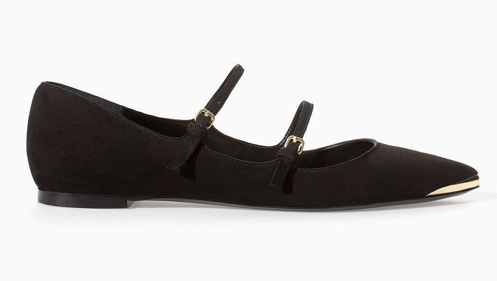 Zara double-strap Mary Jane pointy-toe ballet flats ($60)