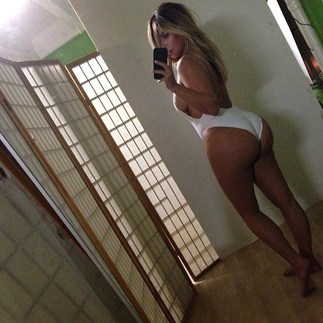 Kim Kardashian showed off her postbaby body with a now-infamous selfie. Source: Instagram user kimkardashian