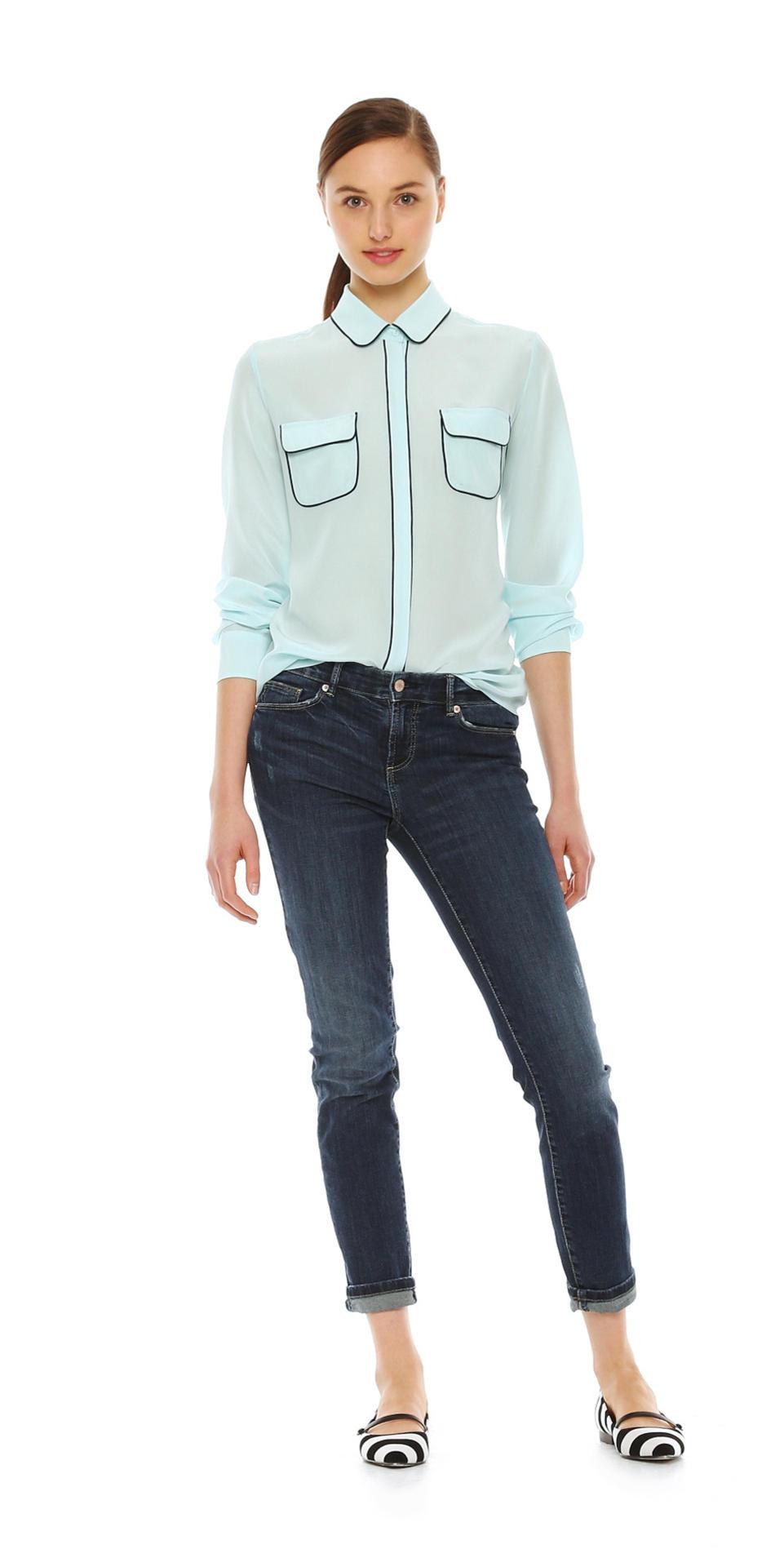 Joe Fresh Piped Silk Shirt in Aqua ($49)
