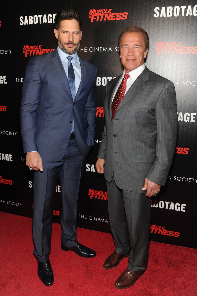 Joe Manganiello and Arnold Schwarzenegger hosted a screening of Sabotage in NYC on Tuesday.