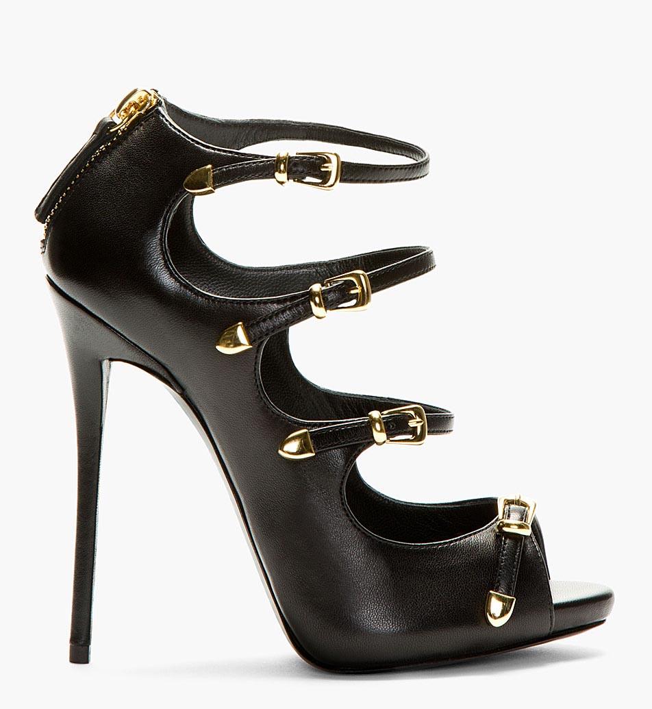 Giuseppe Zanotti Black Four Strap Heels ($1,395)