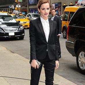 Emma Watson Wears Saint Laurent Pantsuit For Noah Premiere