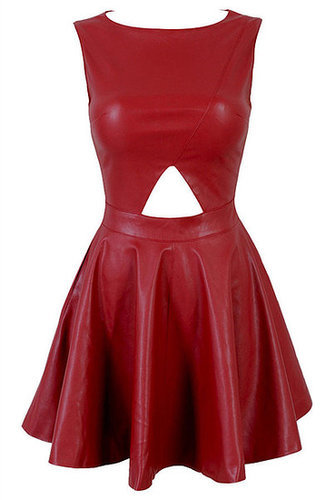 Holly Cut Out Leatherette Skater Dress