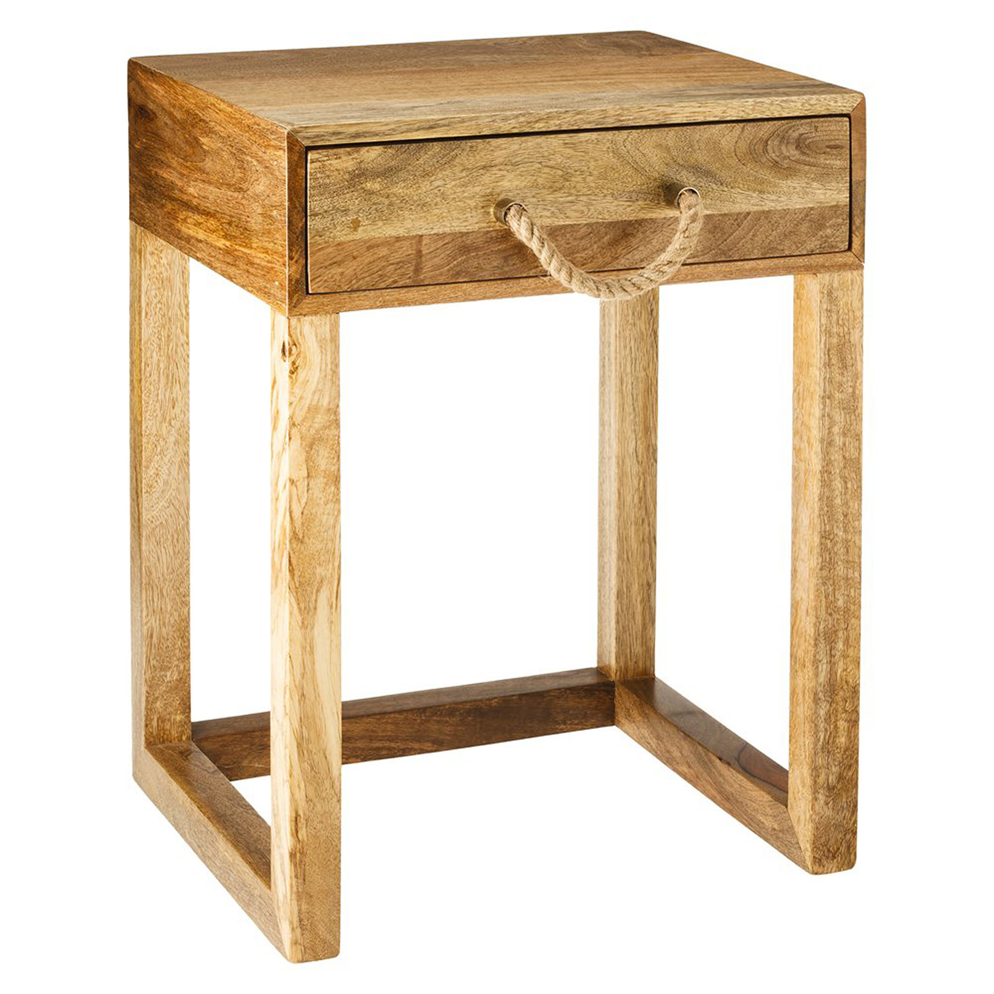 The natural wood tones and rope handle on this accent table ($90) will add a casual beach vibe to a bedroom or living room.