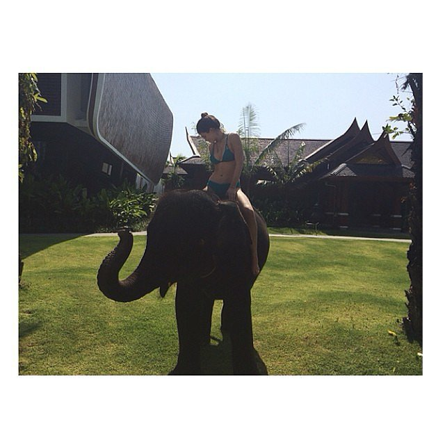 Kylie rode an elephant. Source: Instagram user kyliejenner
