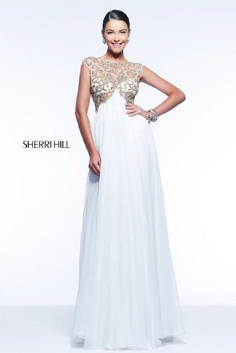 2014 Sherri Hill 11108 Beaded Bateau Neckline Empire Ivory Dress