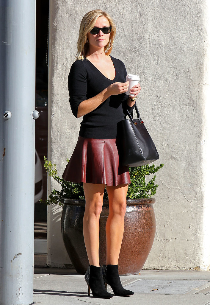 Reese Witherspoon in Oxblood A.L.C. Leather Skirt