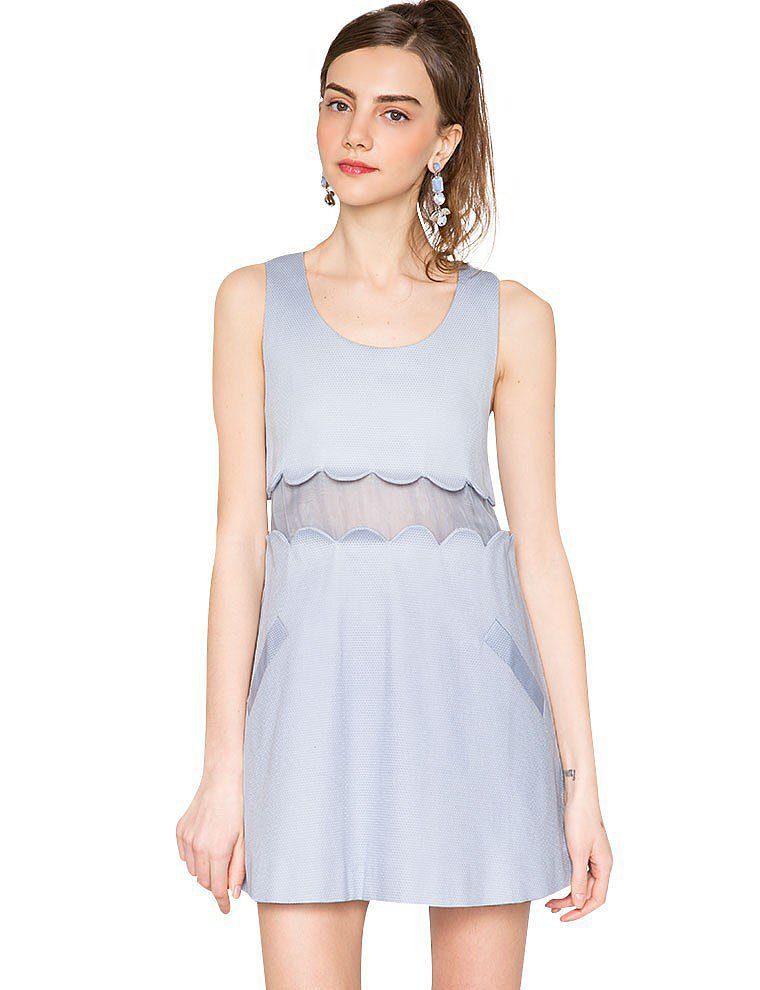 To Be Adored Pastel Blue Scalloped Sheer Dress