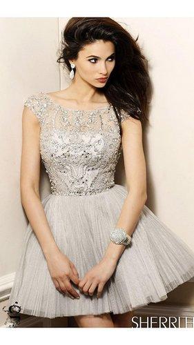 A-Line Beads Nude Sherri Hill 2814 Short Prom DressOutlet