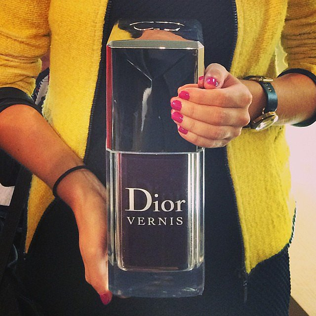 If only our favourite nail polishes were this size. Beauty editor Laura had her hands full with this Dior Vernis giant (and how good's that colour?).