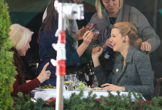 On Thursday, Blake Lively filmed a scene with Ellen Burstyn for their new film, The Age of Adaline, in Vancouver.