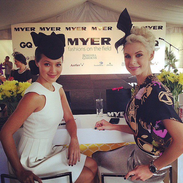 Actress Grace Huang joined model Kate Peck on the Fashions on the Field judging panel. Source: Instagram user atc_races
