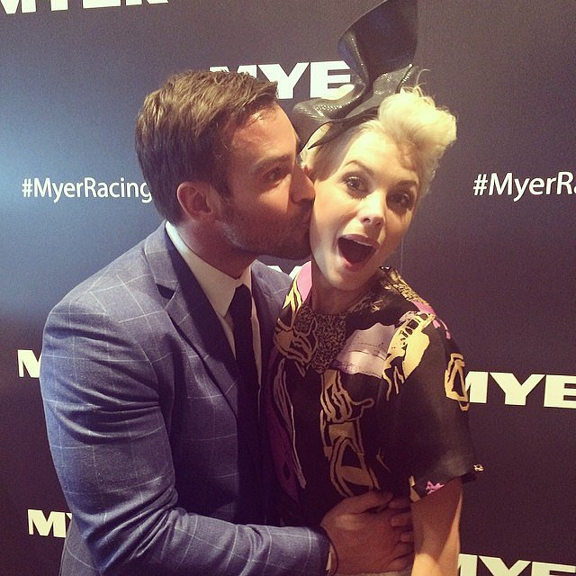 Kris Smith puckered up for a shot with fellow Myer ambassador Kate. Source: Instagram user myer