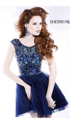 Open Back Sherri Hill Prom Dress 2814 Navy