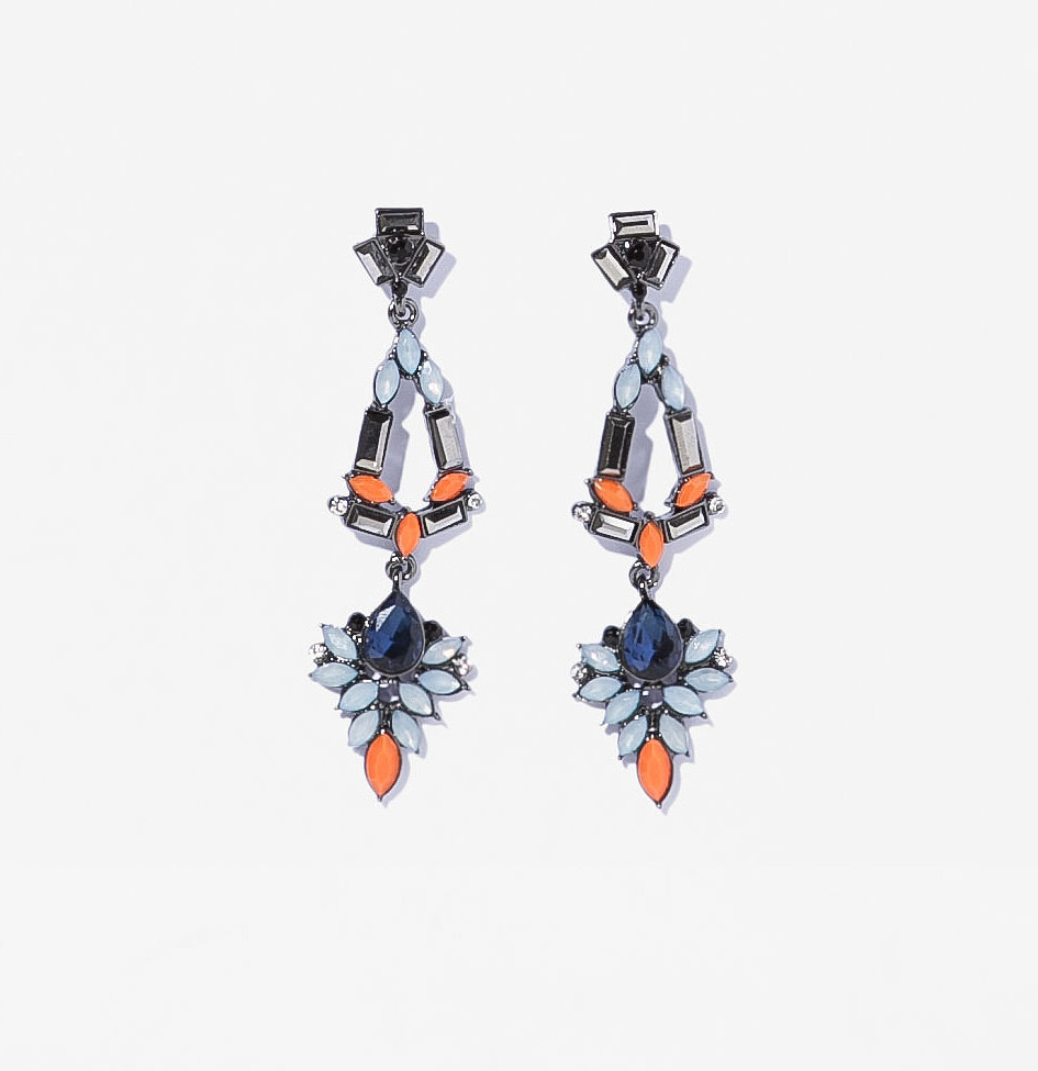 Zara long orange and blue rhinestone earrings ($17)