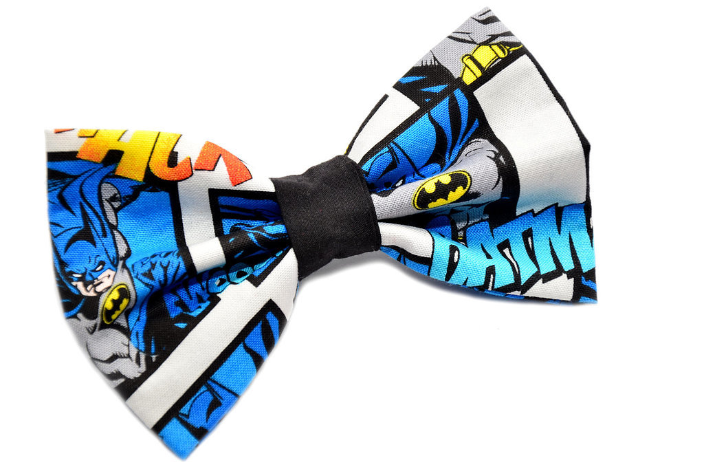 """<a href=""""https://www.etsy.com/listing/121092811/batman-bow-tie-with-adjustable-strap"""">Batman Bow Tie</a> ($14)"""