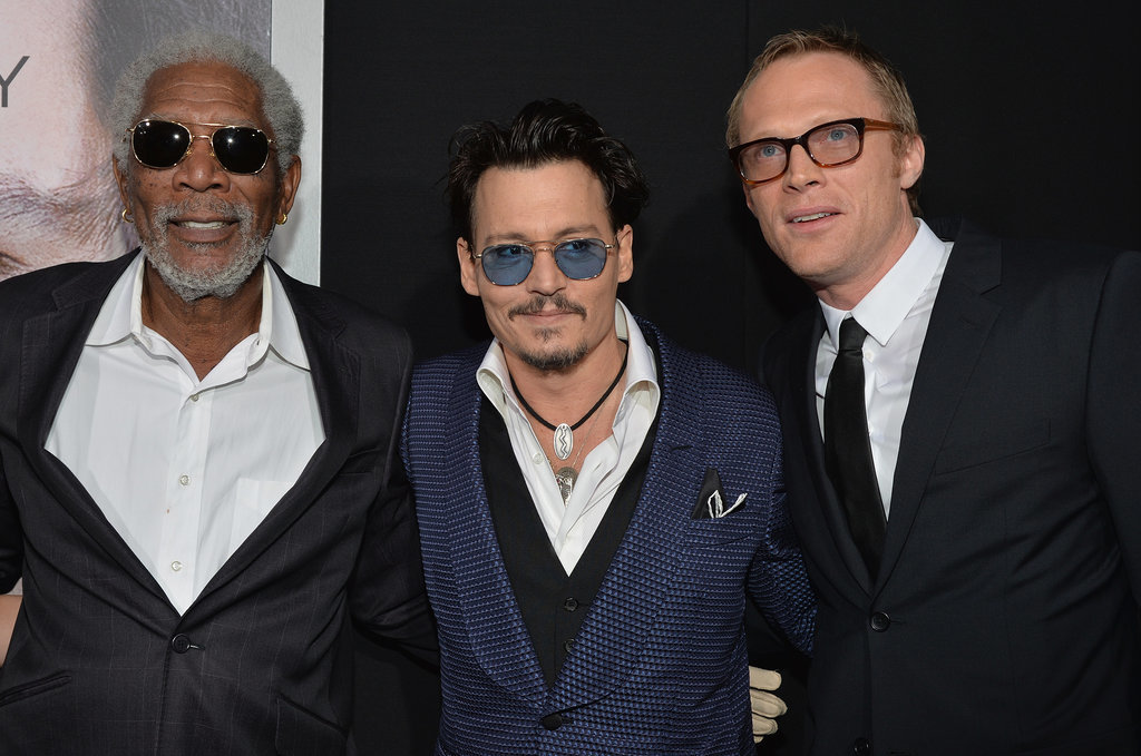 Johnny buddied up with Morgan Freeman and Paul Bettany.