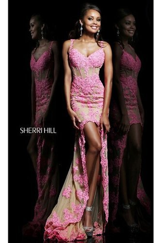 2014 Sherri Hill 21161 Dazzling Lace Illusion High Low Pink Prom Dress