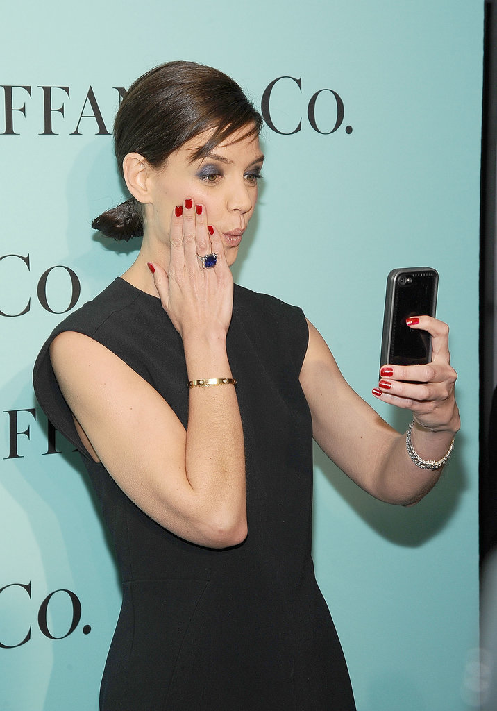 Katie Holmes took a selfie on the red carpet atTiffany's Blue Book Gala at the Guggenheim Museum in NYC on Thursday.