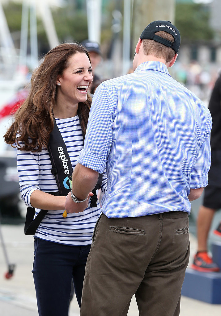 Kate enjoyed a laugh when she beat Prince William during an informal sailing race in Auckland in April 2014.