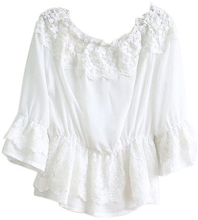 Romwe White Lace Off-the-Shoulder Top