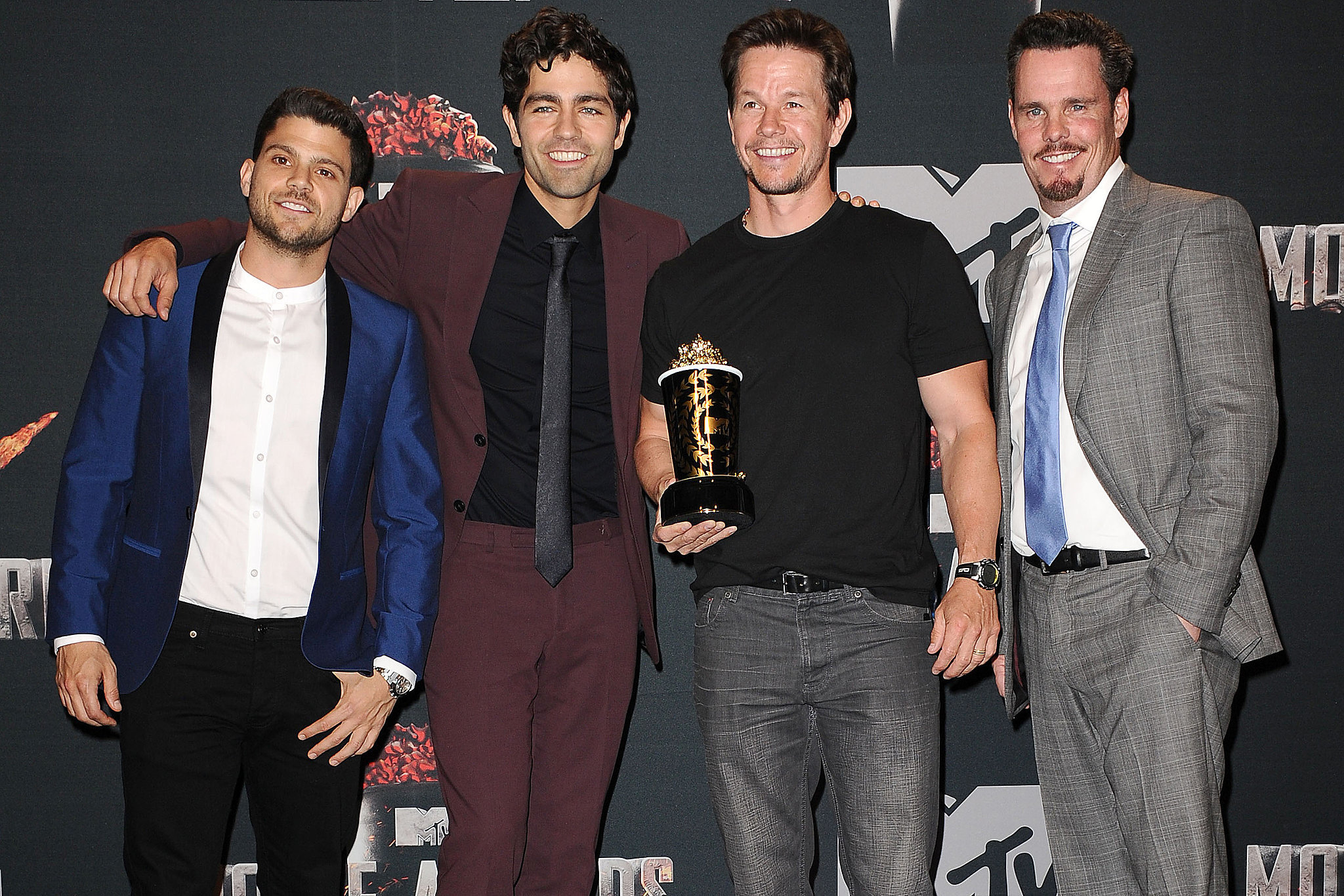 """The gang is together again! The boys of Entourage took a break from filming the movie version of their hit HBO show to present Mark Wahlberg with his generation award — or, as Wahlberg put it, """"the you're too f*ck*ng old to come back award."""""""