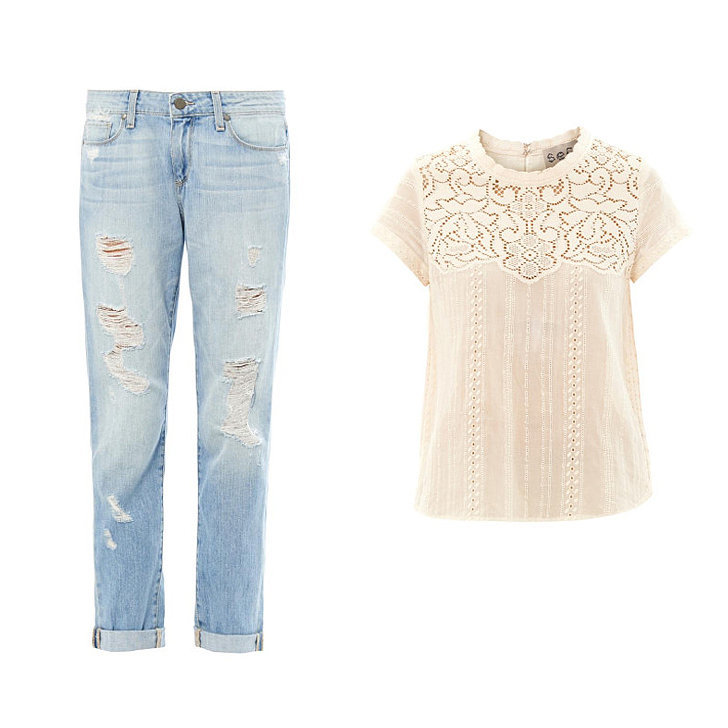 Paige Denim Tyler distressed boyfriend jeans ($391), Sea Lace short-sleeved cotton top ($350)