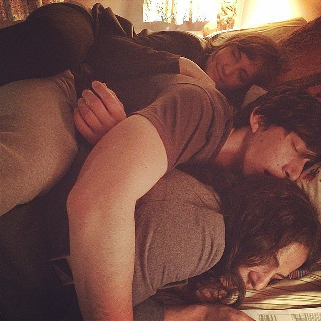 lena dunham adam driver and allison williams snuggled on