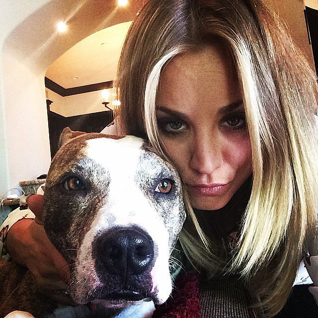 Kaley Cuoco bonded with her dog on Easter.  Source: Instagram user normancook