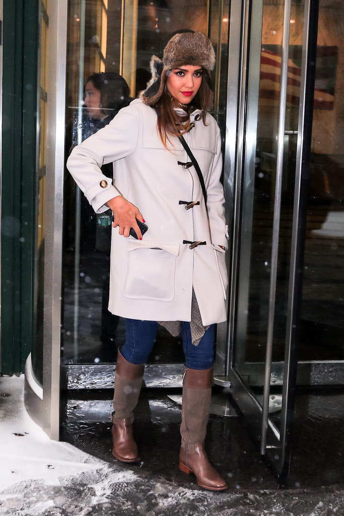 Jessica Alba in Fur-Trimmed Trapper Hat