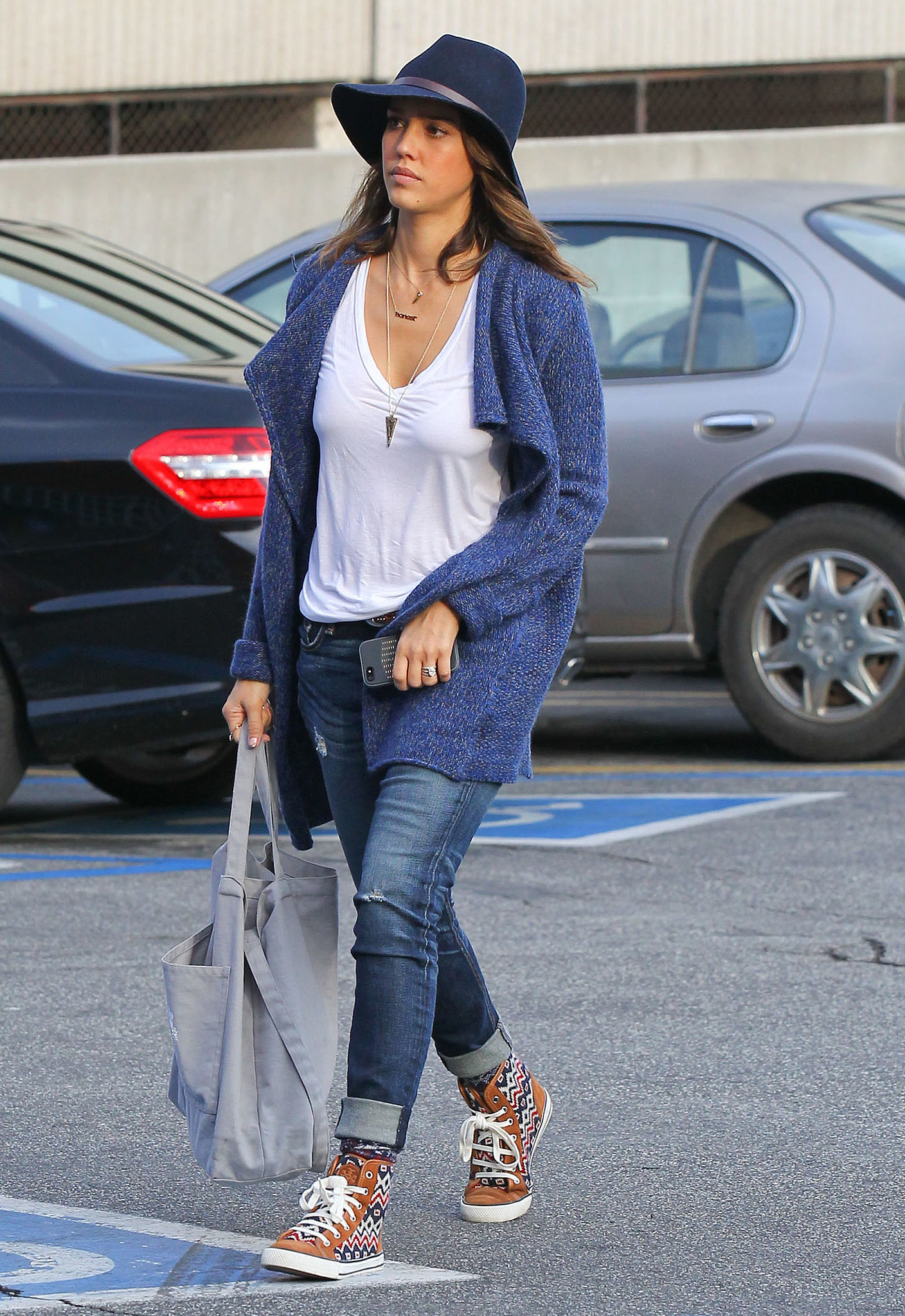 Jessica Alba in Printed Tory Burch Sneakers and a Janessa Leone Fedora