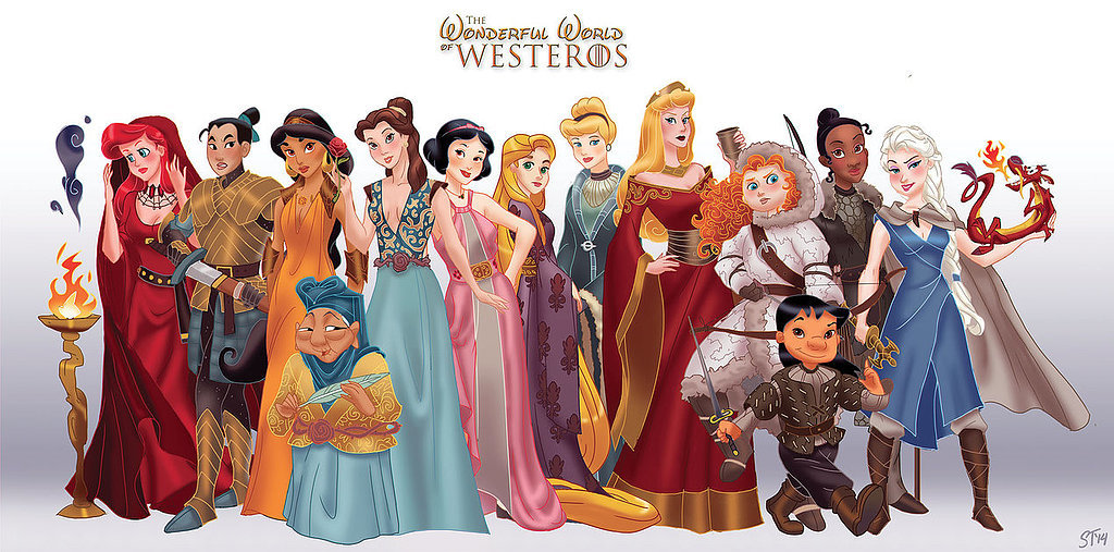disney princesses as game of thrones art popsugar love amp sex