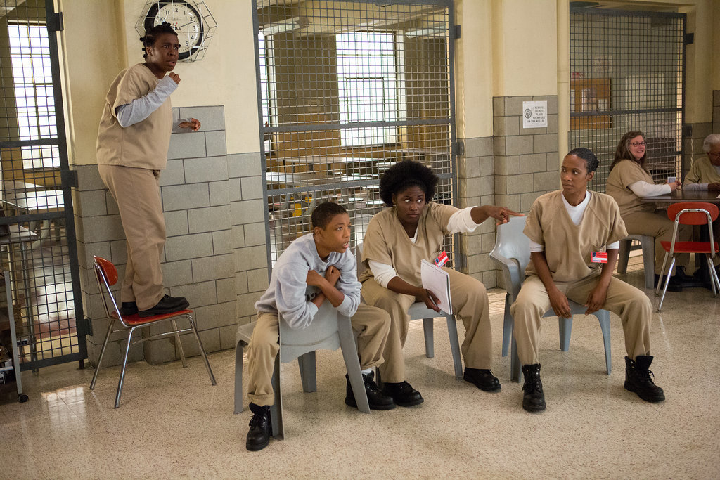 Uzo Aduba, Samira Wiley, Danielle Brooks, and Vicky Jeudy hang out on Orange Is the New Black. Source: Netflix