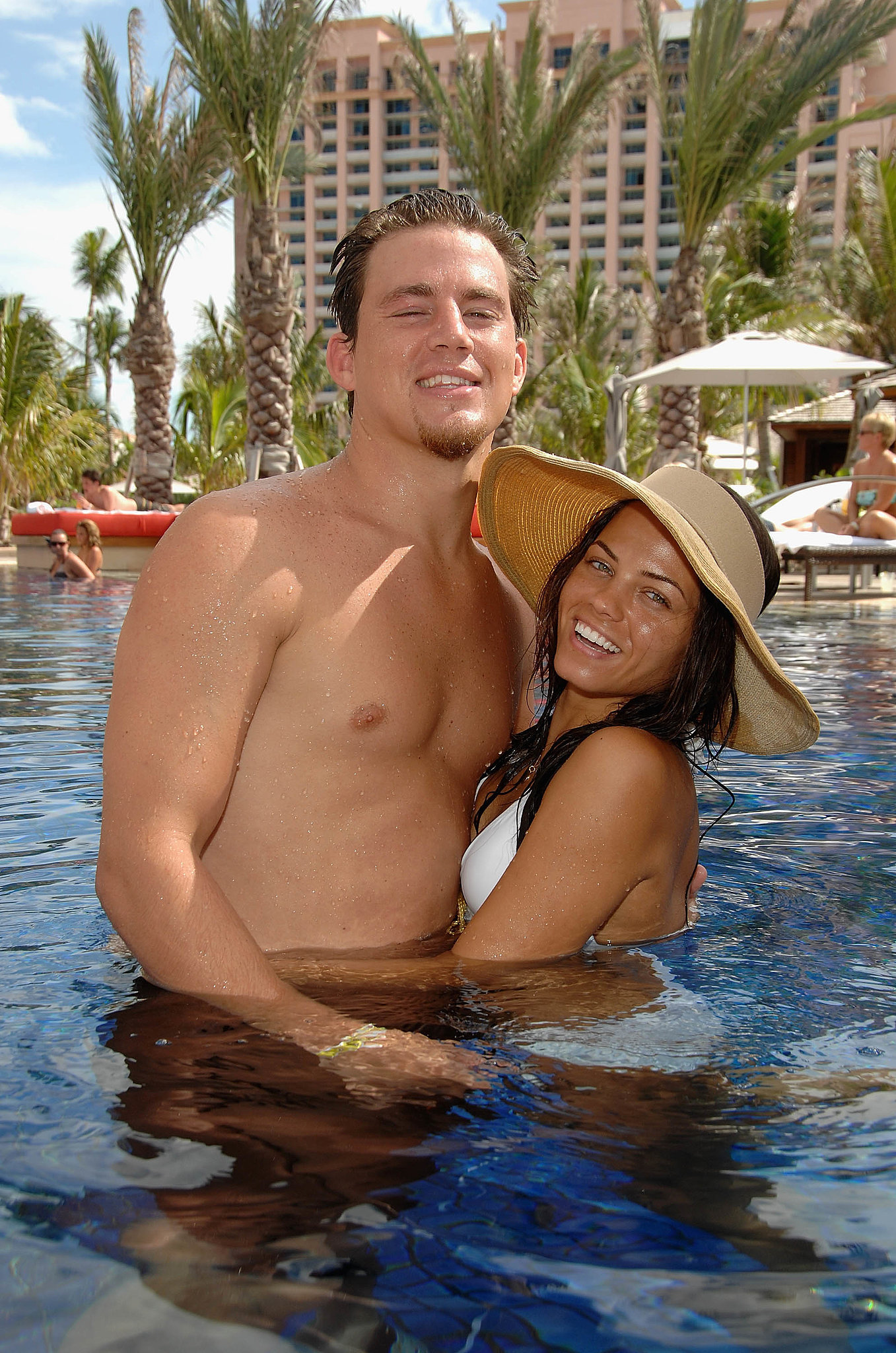 Channing and Jenna hugged in the pool at the Grand Opening of Cain at the Cove Atlantis in July of 2007.