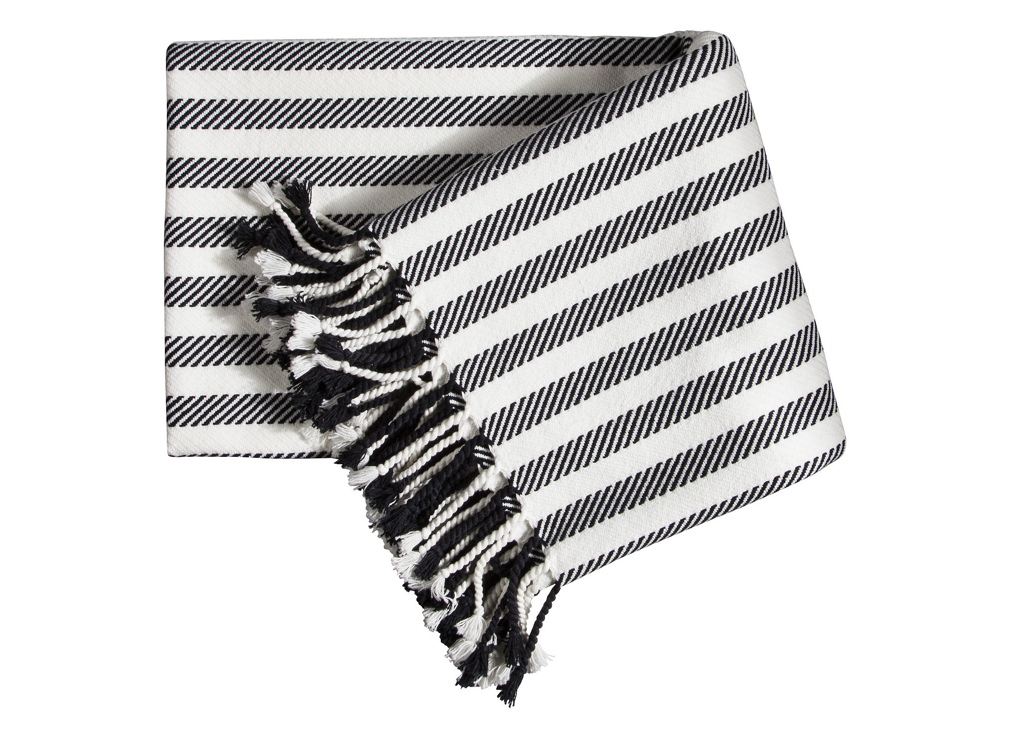 Black and White Striped Tassel Throw ($30)