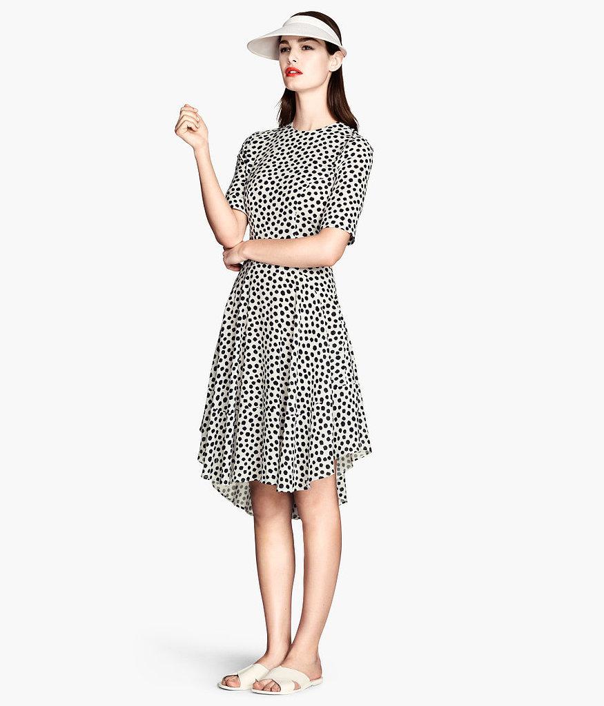 Vintage Full Dress - White Polka Dotted / Short Sleeve / V Neck / Bow Belt