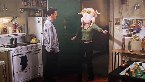 When Monica Shimmies With a Turkey on Her Head
