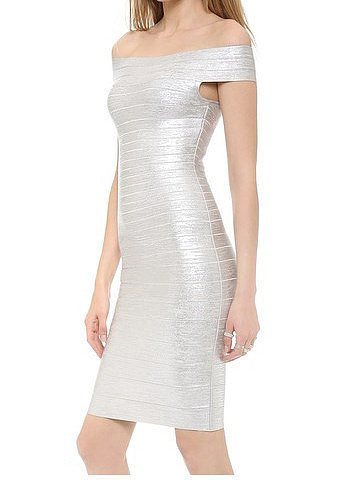 Silver Print Off Shoulder Bandage Dress