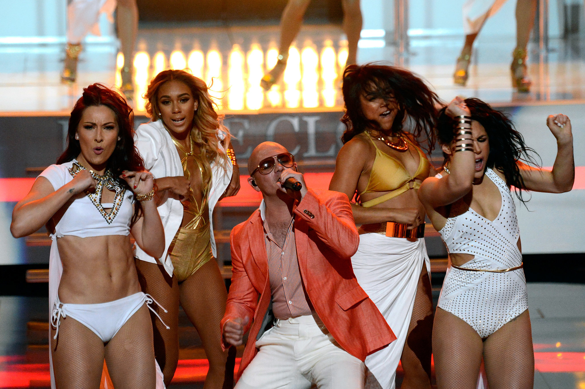 Pitbull Was Surrounded by Women During His Performance