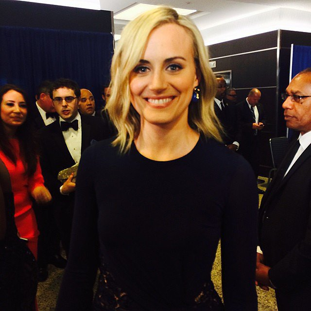 Taylor Schilling was bright-eyed before the dinner.