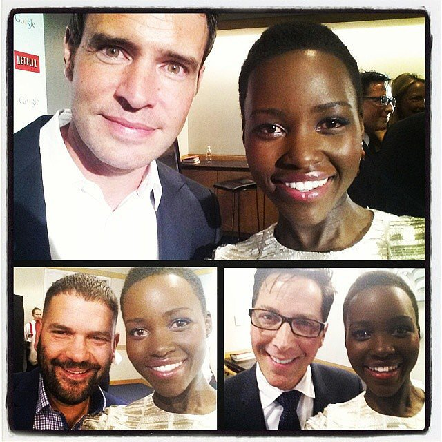"Lupita scored selfies with members of the Scandal cast, writing in the caption, ""#WHCD = #ScandalTour continued. With #ScottFoley #GuillermoDíaz #DanBucatinsky. #Scandal #GladiatorsInTheWhiteHouse."" Source: Instagram user lupitanyongo"