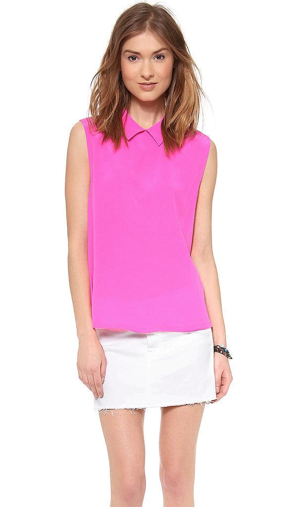 Equipment Pink Sleeveless Blouse